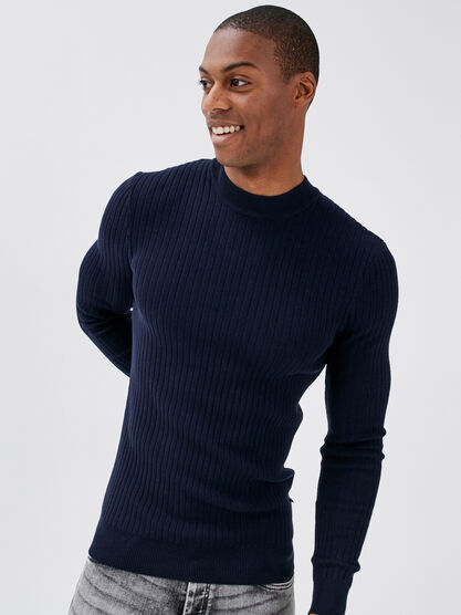 Pull col montant bleu fonce homme