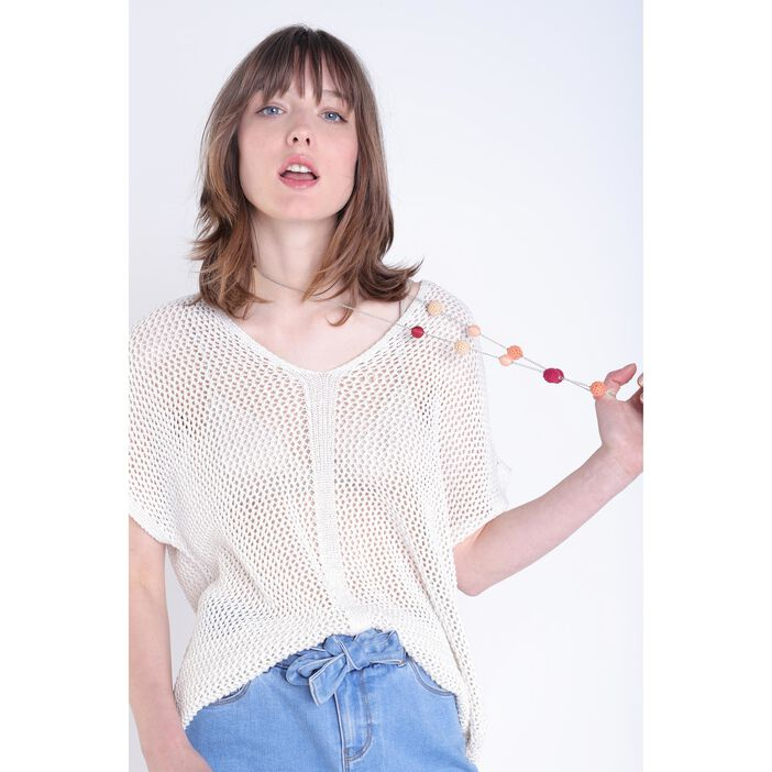 Pull manches courtes blanc femme