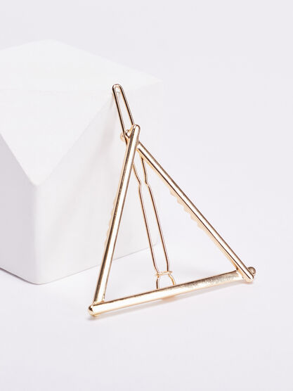 Barrette triangulaire couleur or femme