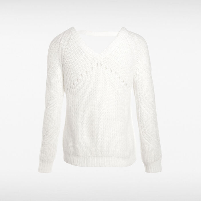 Pull manches longues col rond blanc femme