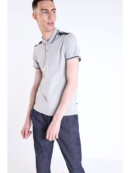 polo homme bandes contrastees gris clair