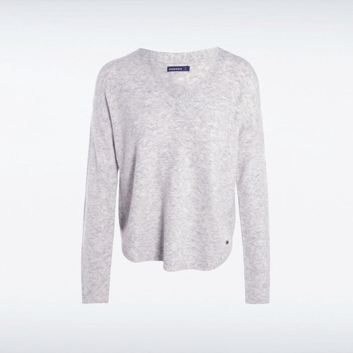 Pull manches longues maille GRIS CLAIR