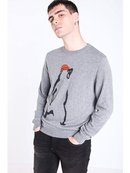 Pull col rond a motif gris homme