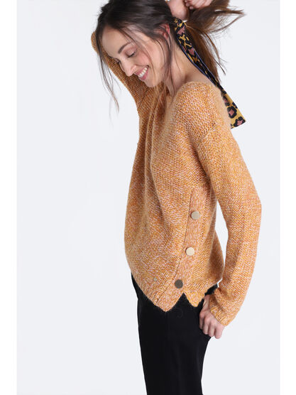 Pull manches longues a boutons jaune moutarde femme