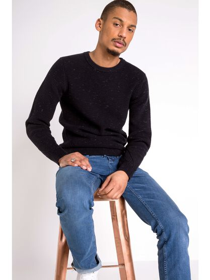 pull col rond homme maille ajouree bleu fonce