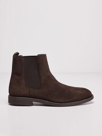 Bottines plates en cuir marron cognac homme