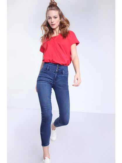 t shirt manches courtes revers rouge