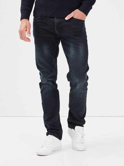 Jeans straight ultra stretch denim blue black homme