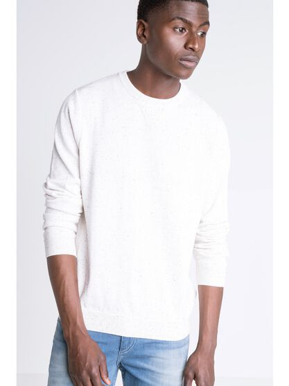 pull droit homme col rond instinct blanc