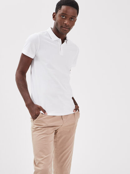 Polo eco responsable blanc homme