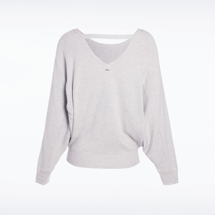 Pull manches longues col rond gris femme