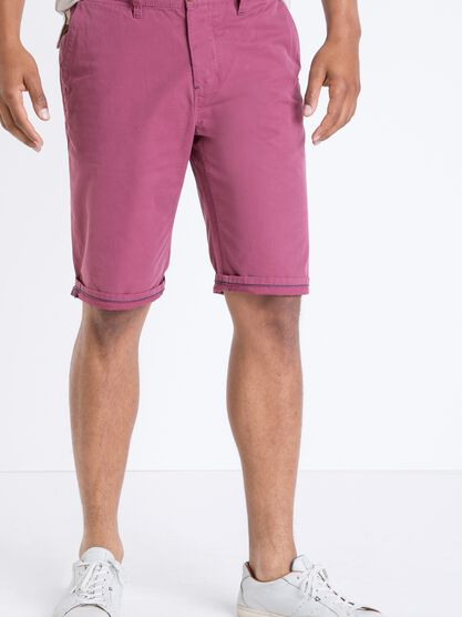 bermuda chino droit homme coton rose framboise