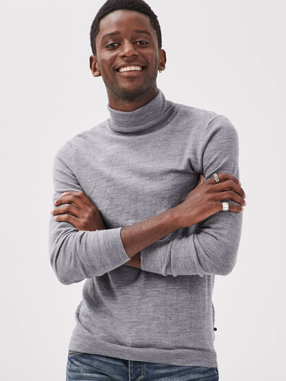 Pull manches longues gris fonce homme
