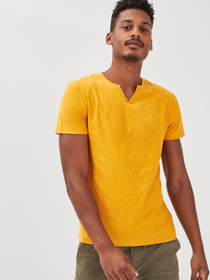 T shirt manches courtes jaune or homme