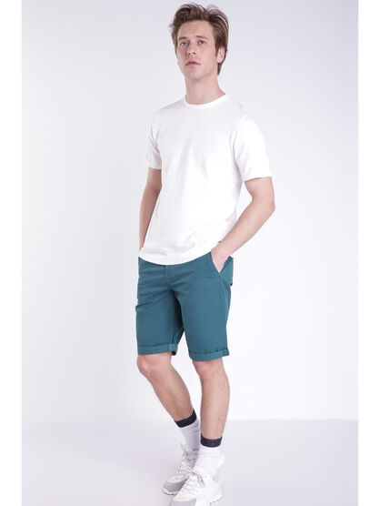 Bermuda chino a revers vert canard homme
