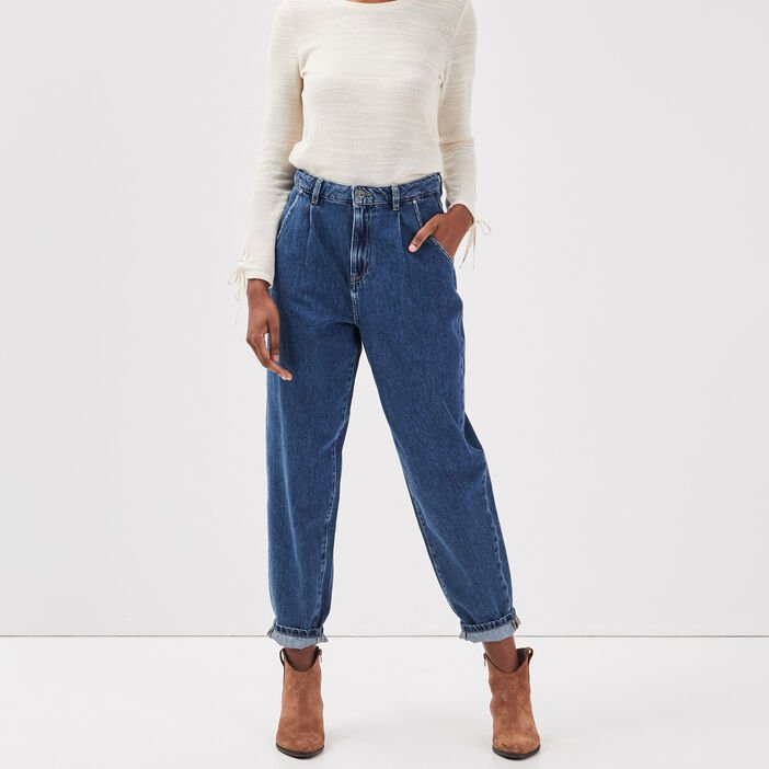 Jeans slouchy taille haute denim stone femme