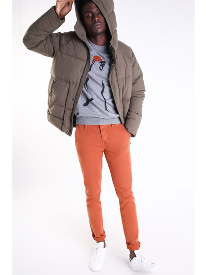 Pantalon chino slim Instinct orange fonce homme