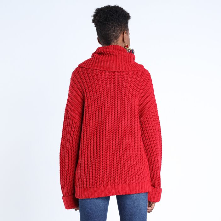 Pull col cheminée femme ROUGE