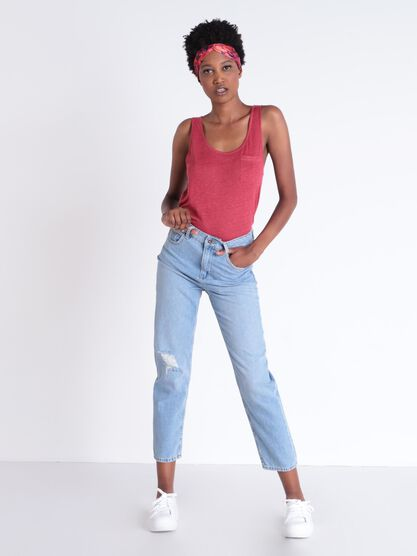 Jeans mom denim delave dechire denim used femme