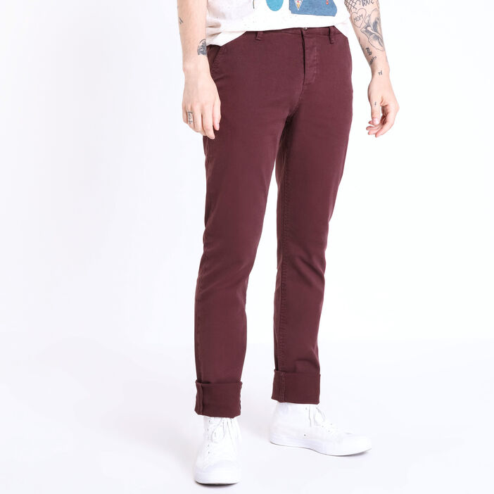 Pantalon chino regular Instinct bordeaux homme