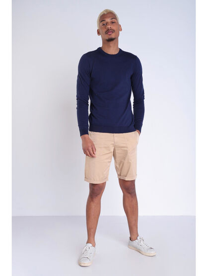 pull uni col rond bleu fonce homme