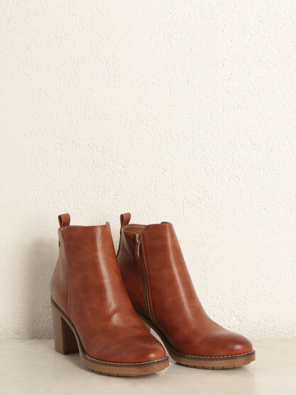Bottines a talon zippees marron femme