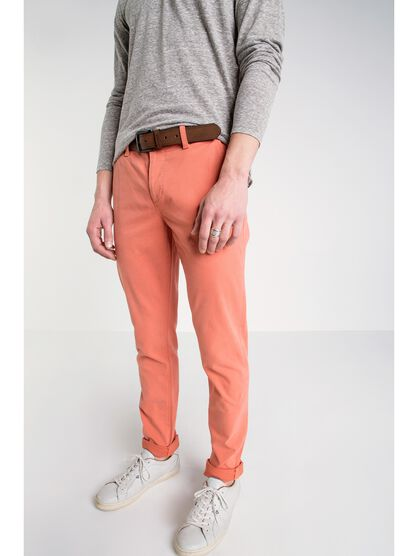 pantalon chino slim homme instinct orange fonce