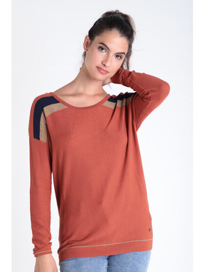 Pull manches longues a bandes orange fonce femme