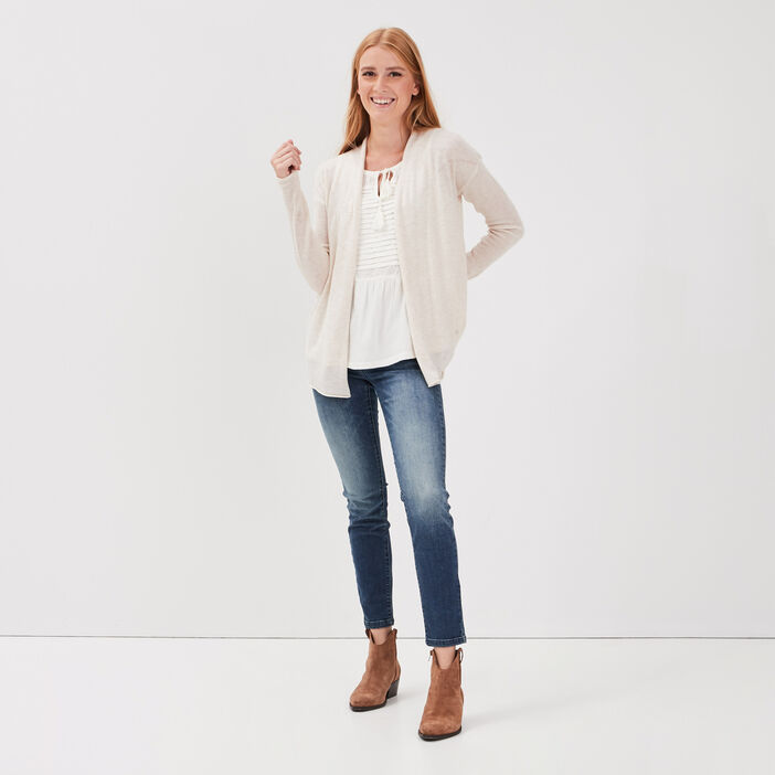 Cardigan manches longues creme femme