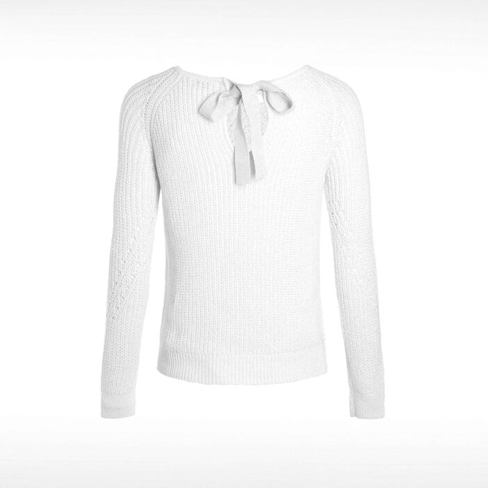 Pull manches longues noeud dos ecru femme