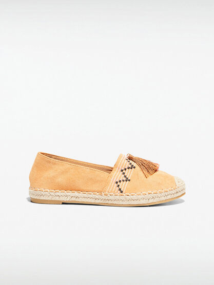 Espadrilles plates brodees jaune moutarde femme
