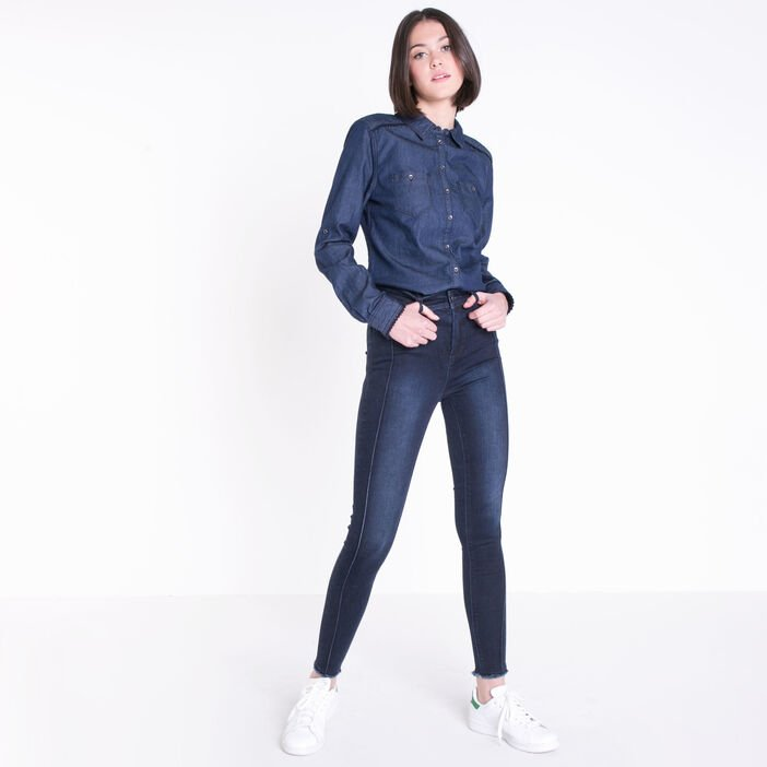 Jeans skinny taille haute coutures denim brut femme