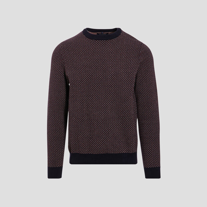 Pull col rond bleu marine homme
