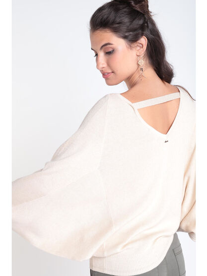 5bdfe5351d Pull manches longues col rond creme femme