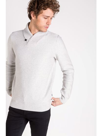 pull col chale homme 1 bouton ecru