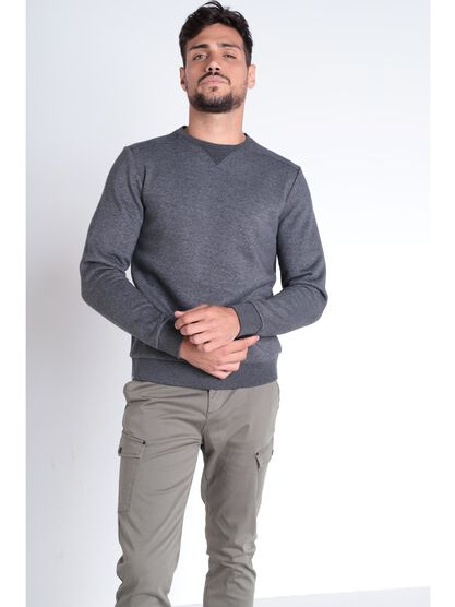 Sweat manches longues col rond gris fonce homme