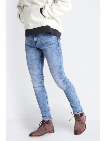 Jeans skinny effet acid wash denim used homme