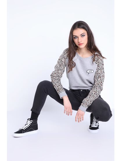 sweat manches longues col rond gris clair