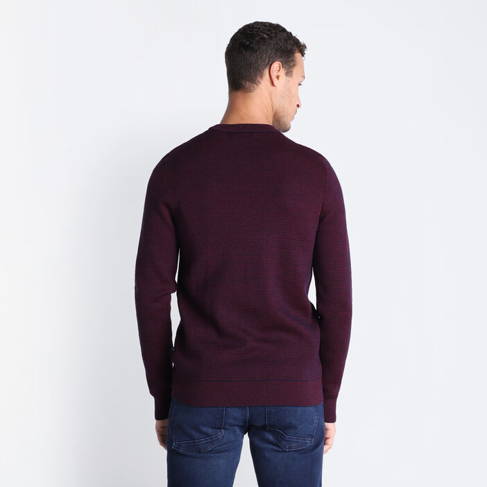 Pull manches longues col rond bordeaux homme
