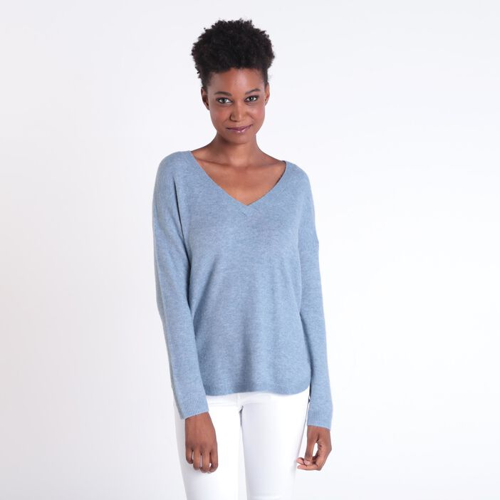 Pull manches longues maille bleu gris femme