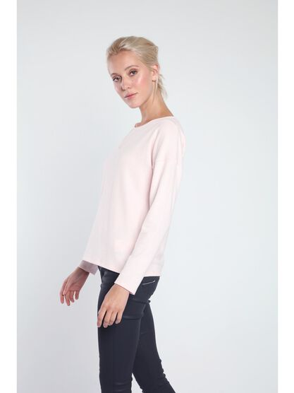 pull col rond femme empiecement plumetis rose clair