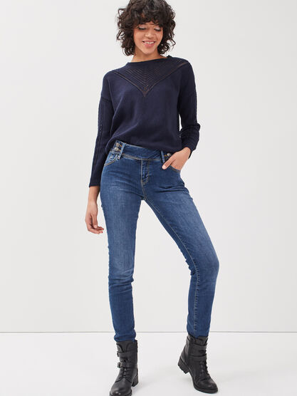 Jeans slim push up denim stone femme
