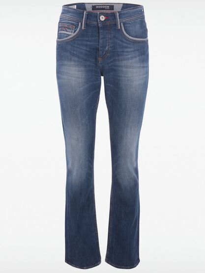 jeans regular effet used denim stone