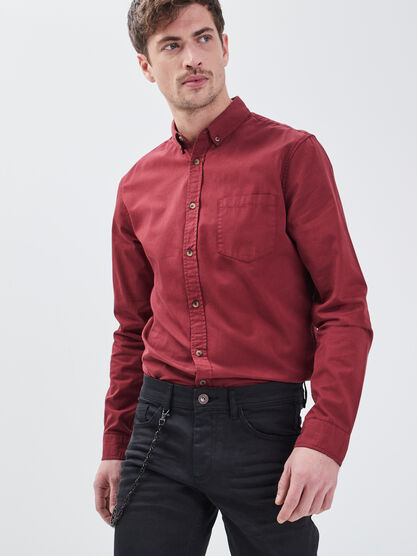 Chemise manches longues rouge fonce homme