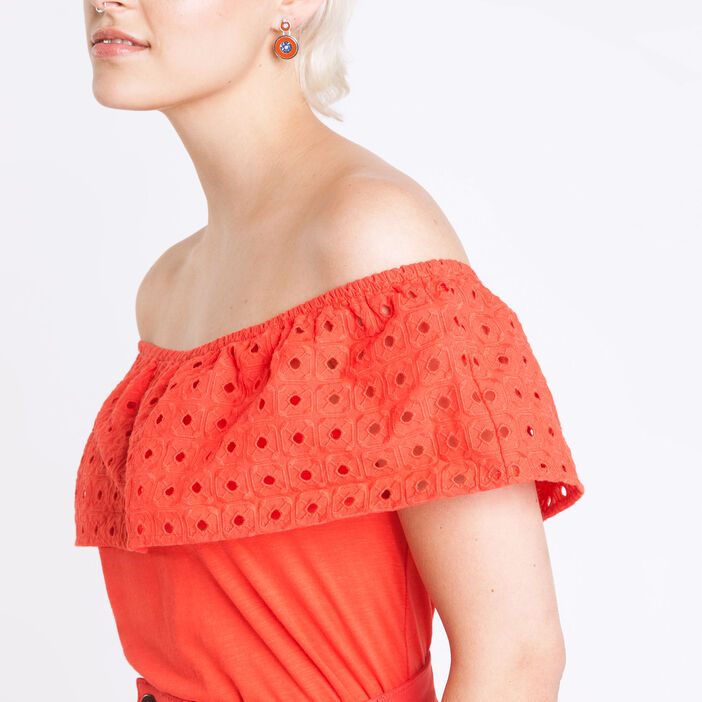 Top volant broderie anglaise rouge clair femme