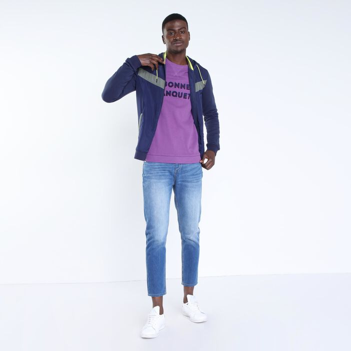 Sweat à message violet homme