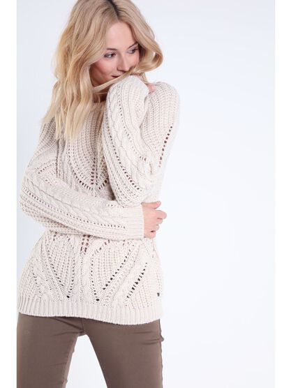 Pull col rond maille ajouree beige femme