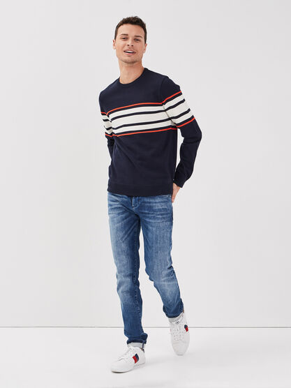 Pull col rond bleu fonce homme