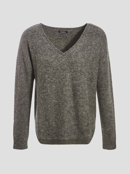 Pull manches longues gris fonce femme
