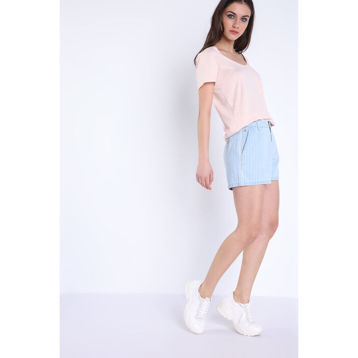 Short droit poches denim bleach femme